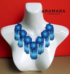 Mexican Huichol Beaded Star Choker and Earrings Set by Aramara