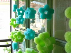 Foam pool noodles, sliced and turned into garland.