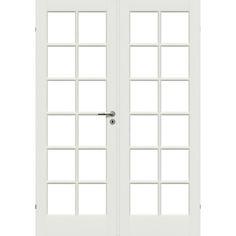 Bergen Glasdörr M15,3X21 Massiv vit glasdörr med klart, härdat glas och 12 speglar. Dubbeldörr M15,3x21 (ytterkarmmått) Mått dörrblad(2st dörrar): 725x