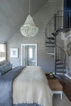 Bedroom spiral staircase to attic office