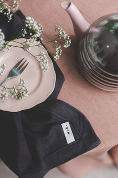 """Nothing like our oversized Belgium linen napkins & the """"Adore"""" tablecloth."""