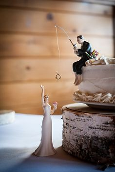 Fish Fishing Wedding Cake Topper Red Cooler Ice Lite Beer Pole