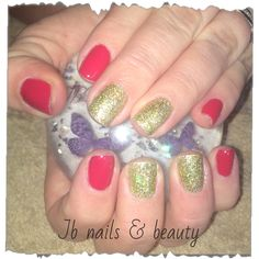 Red gelish gold glitter on natural nails