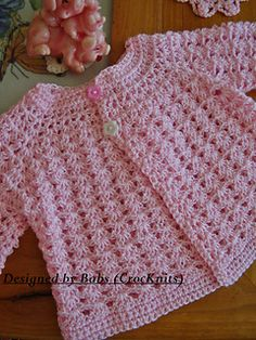 I love these classic designs, this is made all in one piece so you only have the sleeves to stitch/crochet together. What baby would'nt look delightful in this ,would also make a lovely hand-made gift.
