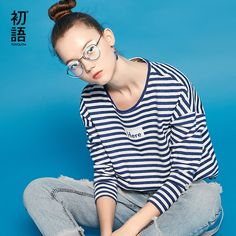 Toyouth T-Shirt 2017 Spring Women Stripe Letter Printed Casual Loose Long Sleeve O-Neck Ladies Tees Tops