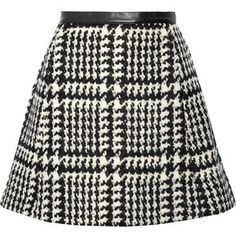 Jill Stuart Crystal leather-trimmed wool-blend bouclé-tweed mini skirt