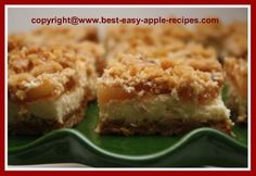 This Apple Cheesecake Bars Recipe is a quick and easy apple recipe using apple pie filling for Thankgiving Holiday Baking or anytime. Baked in a x baking dish. Apple Cheesecake, Cheesecake Bars, Cheesecake Recipes, Cookie Recipes, Dessert Recipes, Apple Recipes Easy, Fall Recipes, Sweet Recipes, Apple Bars