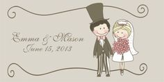 Cartoon bride and groom candy bar wrappers for wedding