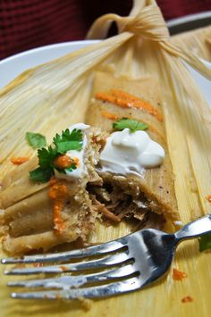 Tamales filled with Carnitas in Pipian Sauce