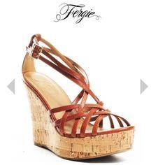 Fergie 4 inch cork wedge, tan sandal. Like new, lightly worn. Fergie Shoes Wedges