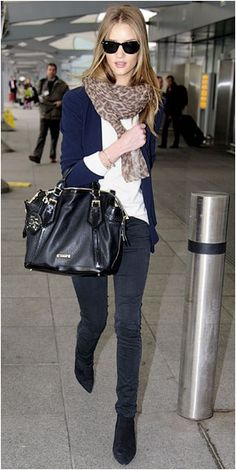 Rosie Huntington Whiteley you got style. Want this outfit the next time I go to an airport