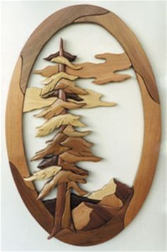 Oval Pine Tree Intarsia Plan