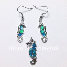 Free shipping opal jewelry SET sea horse set  KSK623  925 STAMPED $17.00