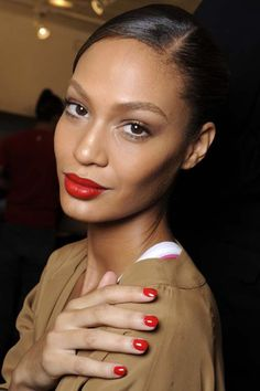 Joan Smalls  Puerto Rican model Joan Rodriguez; Started out modeling in 2007, where she signed with Elite Model Management in NY. She's known for her legs, and pout. She's currently signed with IMG modeling agency. She's ranked #1 in the world as a Top High Fashion Model. Making her the #1 Black/Latina High Fashion Model currently. Her measurements: 5'10.5 32.5-24-34. Size 4