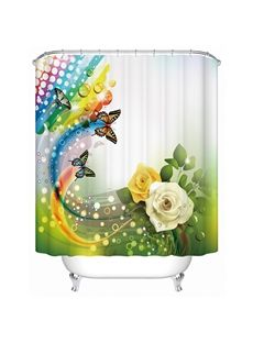 Charming Fantastic Unique Yellow and White Roses Butterfly 3D Shower Curtain  $25.56