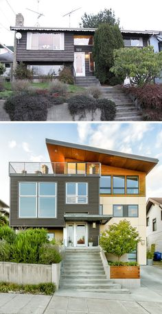House Renovation Ideas - 17 Inspirational Before & After Projects // This split-level Seattle home was completely transformed with sleek metal siding, a wood extension, and a rooftop patio. Exterior Siding, Exterior Remodel, Exterior Design, Modern Exterior House Designs, Split Level Exterior, Split Level Remodel, Architecture Renovation, Architecture Layout, Before After Home