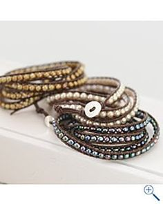 Leather and pearl wrap bracelet