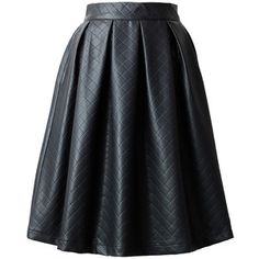 Chicwish Faux Leather Diamond Pleated Skirt in Black