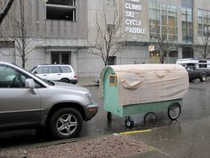 A student from the Pacific Northwest College of Art is creating mini-shelters for the homeless. What a great idea. Northwest College, Pacific Northwest, Homeless Housing, Camper, Tiny Living, Survival Skills, Bike Trailers, Camping Trailers, Baby Strollers