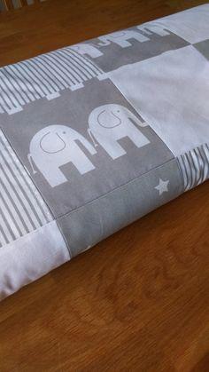 Grey and white nursery bedding by Babyspoke https://www.etsy.com/uk/listing/473098399/elephant-baby-blanket-cot-bedding-crib