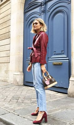 Maroon leather jacket with heels | For more style inspiration visit 40plusstyle.com