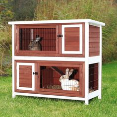 Trixie Pet Products Rabbit Hutch - Brown/White - Rabbit Cages & Hutches at Hayneedle Bunny Cages, Rabbit Cages, Metal Lattice, Bunny Hutch, Rabbit Hutches, Pet Rabbit, Rabbit Life, Guinea Pigs, Pet Supplies