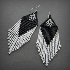 Black and white long beaded dangle earrings  by Anabel27shop