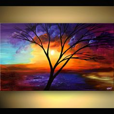 osnat paintings | Original abstract art paintings by Osnat - painting of naked tree on ...
