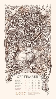 The Memory Palace. Calendar 2017 on Behance Art Calendar, Calendar Design, Calendar 2017, Engraving Illustration, Book Illustration, Baroque Tattoo, Art Deco Artwork, Art Drawings Beautiful, Guitar Painting