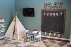Kids playroom - chalkboard - teepee- triangle rug- teal playroom