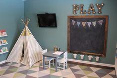 Kids playroom - chalkboard - teepee- triangle rug- teal playroom