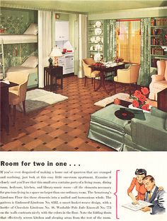 WWII Era One Room Apartment by American Vintage Home. This is AMAZING! Why aren't studio appartments designed like this? Or dorm rooms?