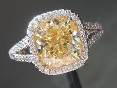 light yellow cushion cut diamonds - Google Search
