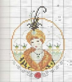 0 point de croix femme turban et plume - cross stitch flapper lady with turban and feather