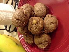 Mini Banana Muffins Only 20 Calories each! (Makes 12)  1/4 cup whole wheat flour 3 tsp sugar 1tsp baking powder 1 table spoon of cinnamon 1/2 banana 1/4 cup of egg substitute  Mix together, spoon out into mini muffin pan, bake at 350* for 10 minutes (or until firm).   Enjoy this super low calorie breakfast or snack! :D
