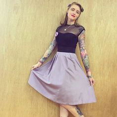 Vintage, Retro, Rockabilly style featuring our purple resin Cheeky Cheshire Cat brooch! LOVE this snap by @ladybearcat_