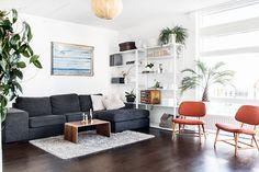 Ikea 'Fjälkinge' shelves in living room