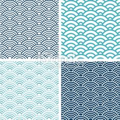 Japanese Seigaiha seamless pattern set Royalty Free Stock Vector Art Illustration