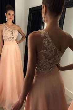 blush pink prom Dresses,Chiffon prom dress,long evening gowns,sparkle one shoulder prom dress