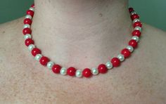 Red and White Glass Pearl Necklace, Jewelry Set, Red Wedding, Beaded Jewelry on Etsy, $27.00
