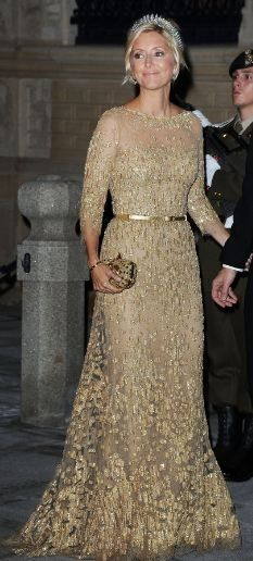 Love this gold lace gown worn by CP Marie-Chantal.