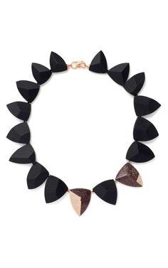 Shop Black Tourmaline, Purple Fossilized Dinosaur Bone And White Diamond Necklace by Monique Péan for Preorder on Moda Operandi