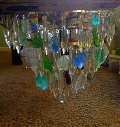 Sea glass chandelier.