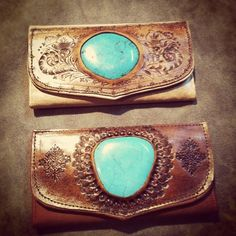 Leather wallet with turquoise stone.