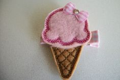 Boutique Embroidered Felt Strawberry Ice Cream by pachwilliamson, $3.00