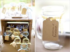 mason jar drinks and labeled flower vase for the bridesmaids too