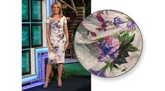 ADRIANNA PAPELL Cocktail dress w/abstract floral print in purple, blue, pink, green, metallic gold on white background, embellished in beads, crossover v-neckline, cap sleeves, straight skirt pleated | Vanna White's dresses | Wheel of Fortune