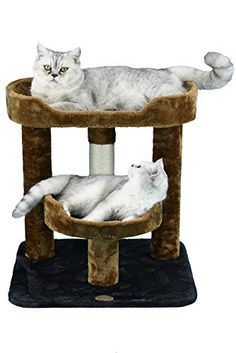 """Go Pet Club F3019 Cat Scratcher Condo Furniture - * Color : Brown/Black * Size : 19.25""""W x 19.25""""L x 23""""H * Size of Top Perch : 19.75""""W x 12""""L x 3.25""""H * Size of Top Bed : 11.25""""Dia x 3.25""""H * Posts covered by natural sisal rope & faux fur * Covering Material : Faux Fur * Board Material : Wood * Easy to assemble with step by step instruction and..."""