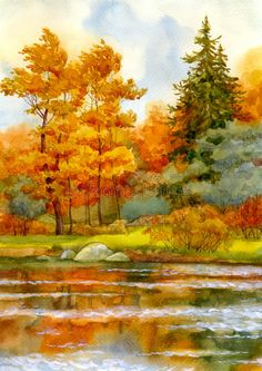Autumnal Forest On The Lake Stock Illustration - Illustration of clouds, gouache: 14955346
