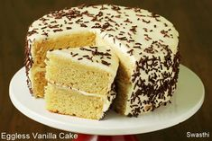 Eggless vanilla cake recipe - Learn to make cake at home with video. This simple cake recipe yields moist,soft & delicious eggless vanilla cake.